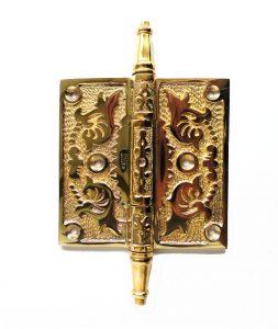 "Victorian Leaf 4"" Solid Brass Door Hinge Rare New Hardware"