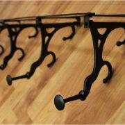 Big Wall Mounted Cast Iron French Paris Parisian Bakery Swivel Hook Rack, Old Style