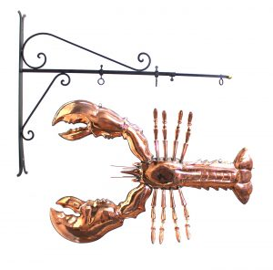Giant Copper Lobster Like Old Trade Sign Seafood Decor Maine Kitchen Claw Tail Fun