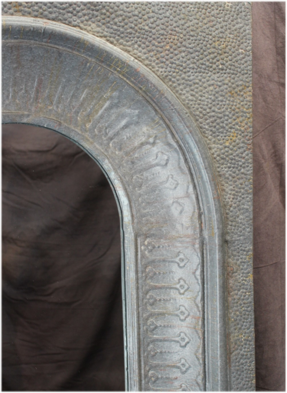 Giant Galvanized Stamped Tin Wall Mirror w Vintage Finish & Arched Top, Fantastic Designer