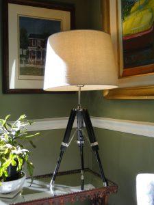 Surveyors antique restoration Table LAMP White shade transit tripod nautical