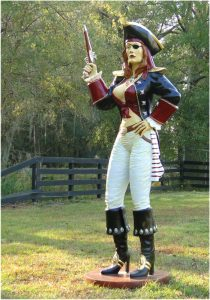 Girl Sexy Pirate Statue Sculpture With Eye Patch and Gun Life Size Woman