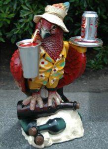 Drink Serving Parrot Butler Bird Statue w Silver Tray, 2' Waiter, Restaurant or Kitchen Decor