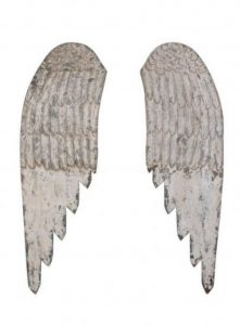 """Pair of Wooden Wall Angels Wings, holiday decor, 44"""" carved cottage chic angel"""