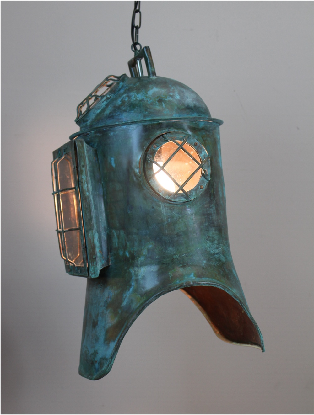 Antique Replica Divers Helmet Life Size Solid Copper Old Nautical Pendant Light