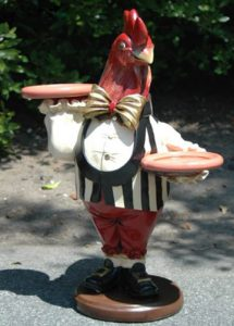 2' Rooster Butler Waiter Statue with Two Trays Old Gold Tie Great for Bar Pub