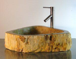 Bathroom Counter Top Petrified Wood Triangle Vessel Basin Sink X4P