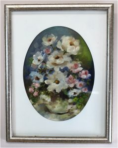 Oil Painting Lovely Flowers Matted and Framed Ready to Hang Sign Artwork Kemper