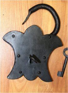 Medieval Iron Lock Set w Fleur Des Lis Shape Hand Wrought Working Padlock
