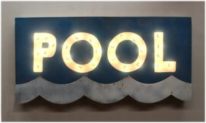 Retro POOL Lighted Sign Metal Tin Wall Mounted with 1950's Feel Vintage Style