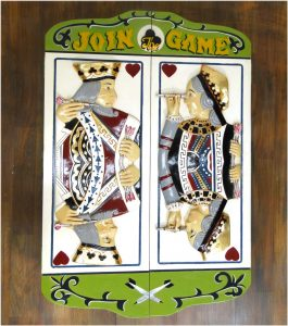 King and Queen of Hearts Vintage Style Dart Game Board Cabinet
