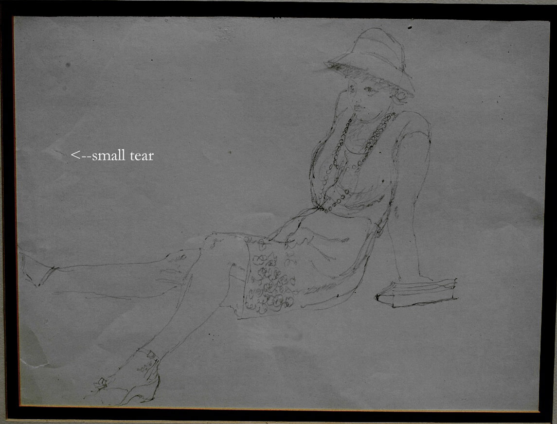 G Plante Pencil Drawing of Woman, Old Art, Hilton Head Listed American Artist, RARE