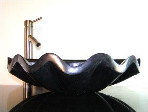 Bathroom Counter Top Black Marble Sea Shell Basin Vessel Sink