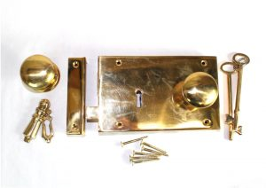 Surface Mounted Antique Replica LEFT Hand Solid Brass Colonial Georgian Rim Lock Box Lock