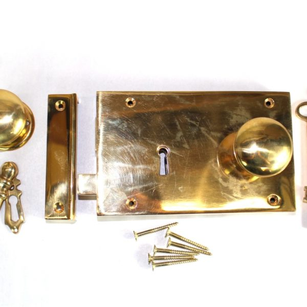 Surface Mounted Antique Replica LEFT Hand Solid Brass Colonial Georgian Rim Lock Box Lock
