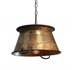 """Galvanized Tin Colander Pendant Light 16"""" Diameter Antique Style"""