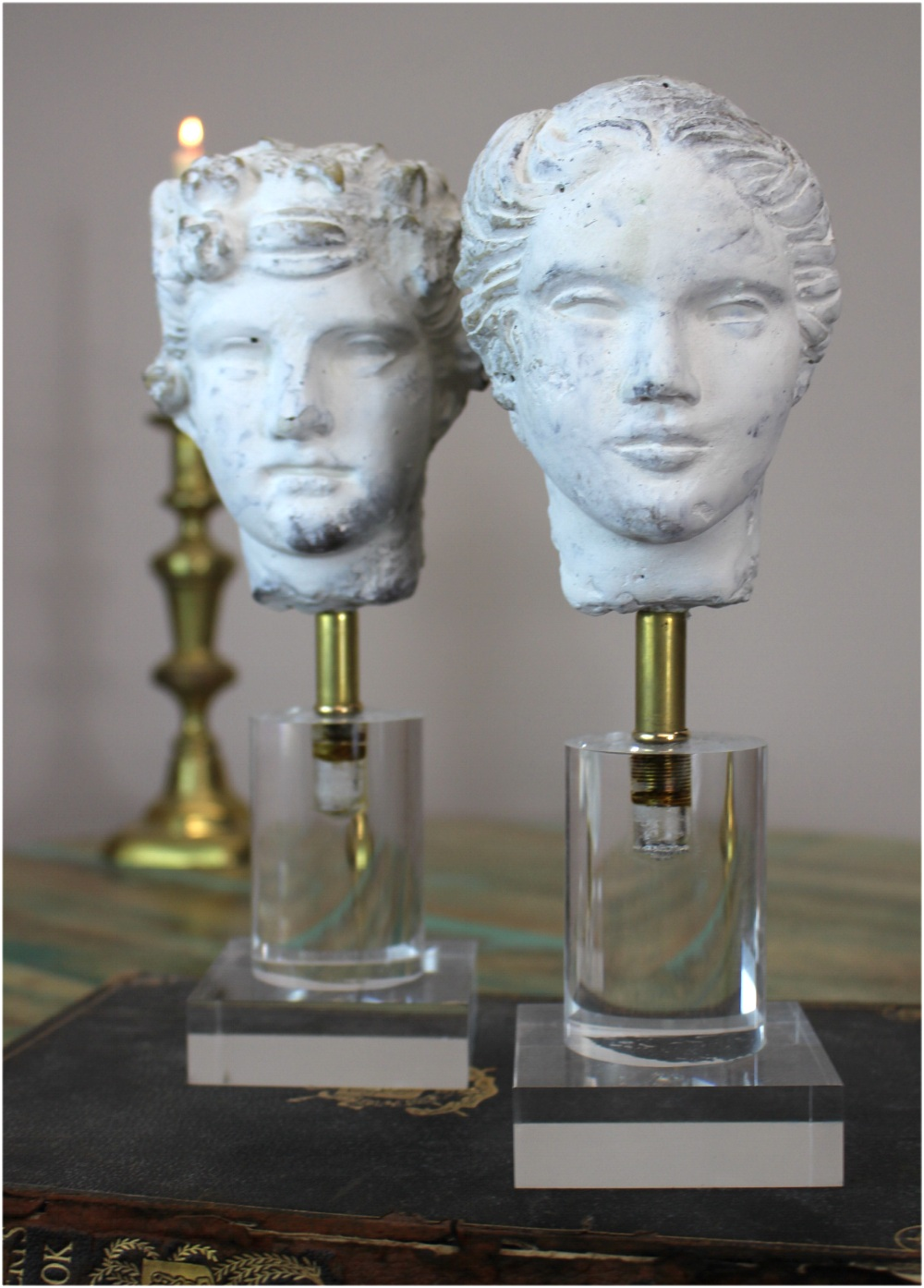 Romulus & Rhea Greek God Statues (pr) Sculptures on Lucite Acrylic Base lk Hart Haziza Art