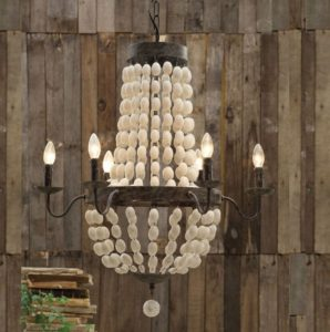 Iron Frame & Wood Wooden Beads Chandelier w 6 Lights Large Fixture Big