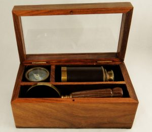 Telescope, Compass, and Magnifying Glass - Small Box Set, antique replica