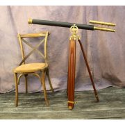 "Big Telescope on Adjustable Stand w Leather & Brass, 63"" Tall Antique Replica w Two Scopes"
