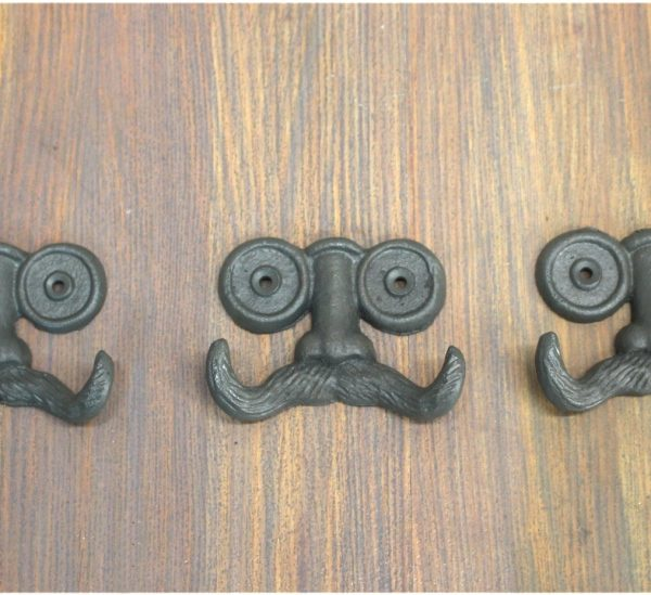 Moustache Face Wall Hooks for Towels Robe Clothes Set of 3pcs Cast Iron Old Style