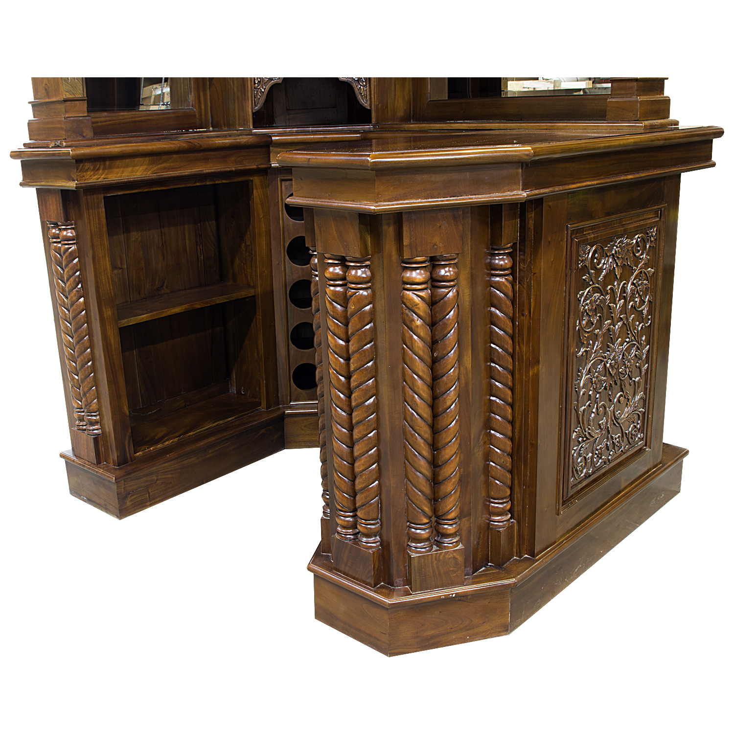 Solid Mahogany Corner Home Bar Furniture With Tiffany Glass Canopy Antique Replica 12 The