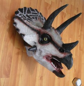Wall Mounted TRICERATOPS Trophy Head, Jurassic Park, kids room, terra nova