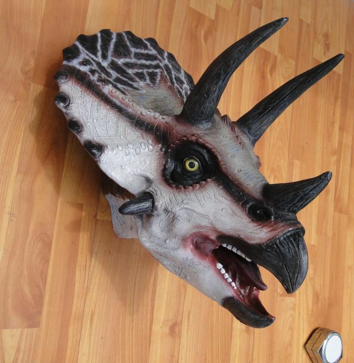Wall Mounted TRICERATOPS Trophy Head, Jurassic Park, kids room, terra nova