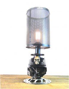 Harley Style Metal Rough Riders Motorcycle Engine Skull Table Lamp