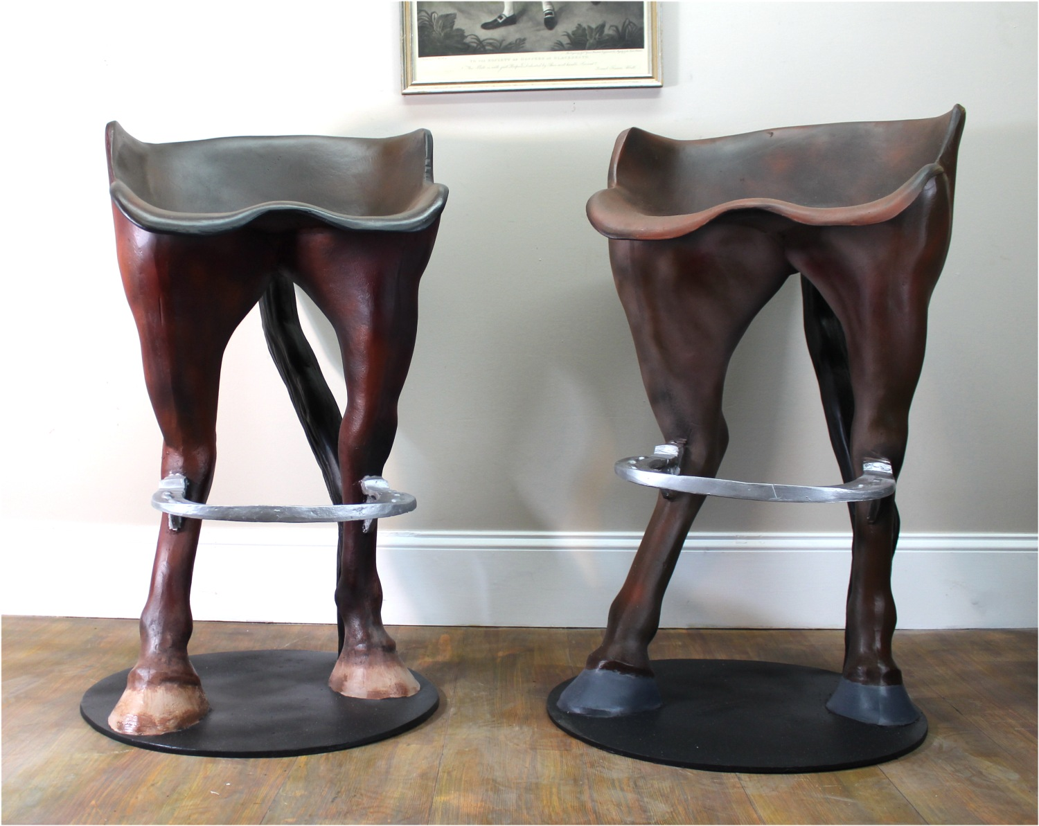Funny Horse Tail Bar Stool With Foot Rest Custom Painted