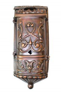 Victorian Motif MAIL BOX mailbox vintage AGE DARKENED Solid Brass Heavy front door hardware