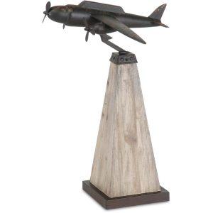 Art of Flight Vintage Style Metal & Wood Decorative Airplane Sculpture