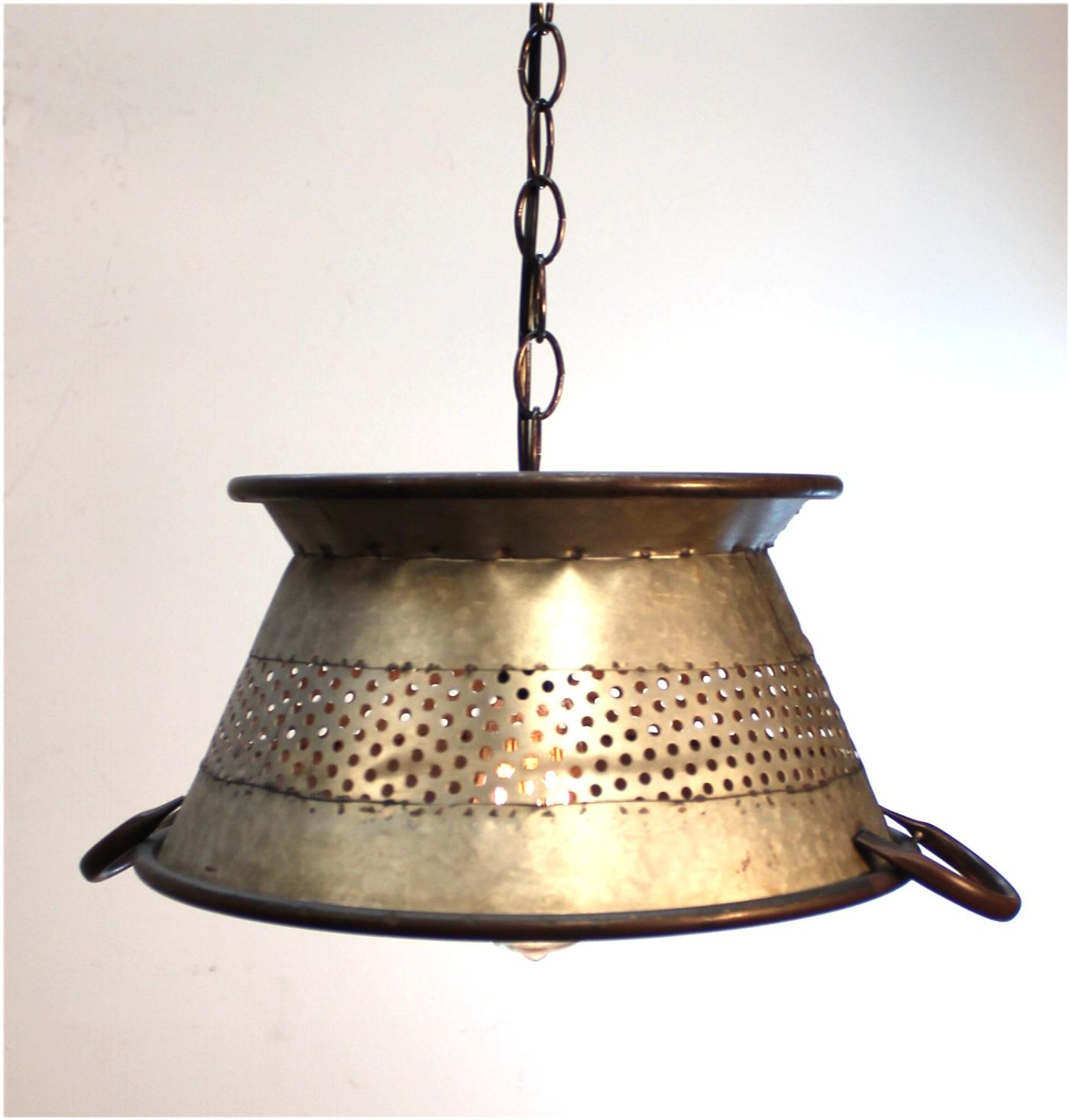 """Galvanized Tin Colander Pendant Light Big 19"""" Diameter"""