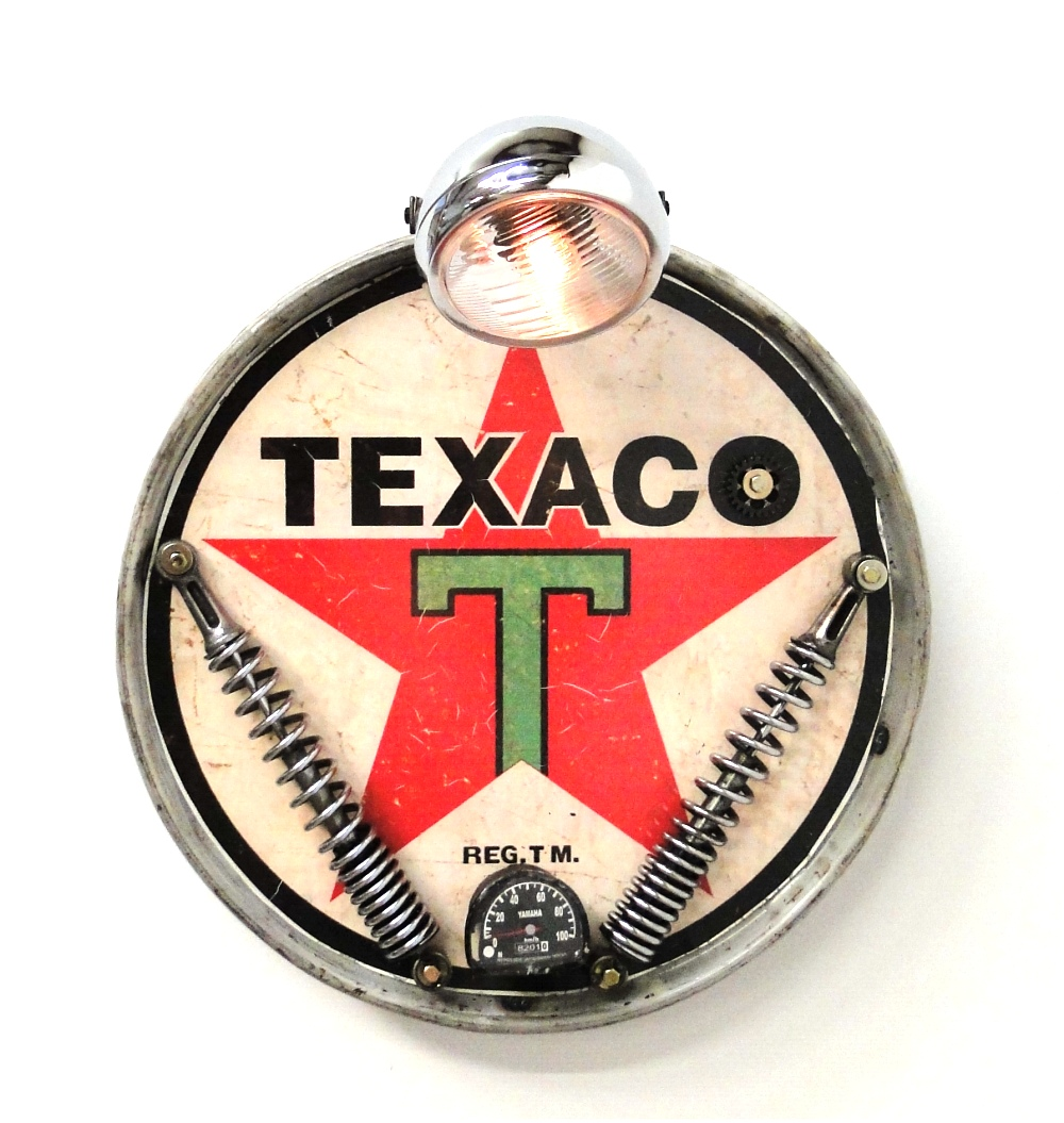 Texaco Oil company gasoline Motorcycle headlight antique style wall sign 1