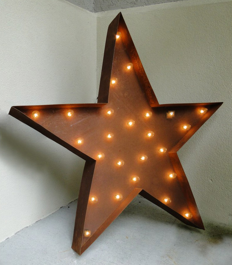 Lighted Old Vintage Style Tin Metal Star Sign Iron