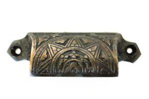 Solid Brass DARKENED Bin Pull Antique Hardware replica Victorian vintage style