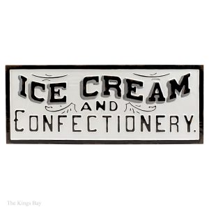 "Metal Ice Cream and Confectionery Soda Fountain Vintage Style Wall Sign 30"" Long"