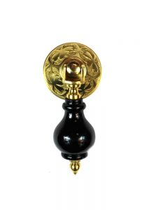 Victorian Black Wood and Brass Drop Pull with Clover Design Hardware