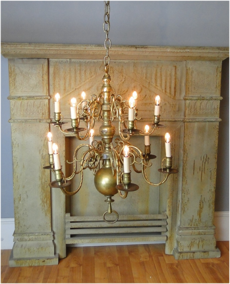 Colonial BIG Solid Brass Chandelier Light Fixture W 12