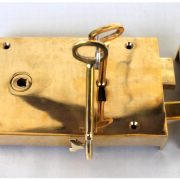 Surface Mounted Antique Replica RIGHT Hand Solid Brass Colonial Georgian Rim Lock Box Lock