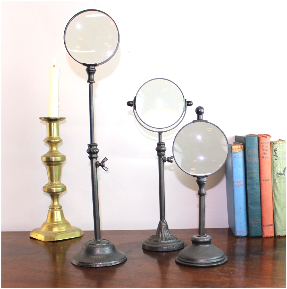 Standing Magnify Glass Set of Three on Pedestals Adjustable Height Iron Metal Old Style