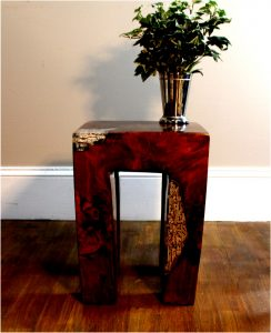 Burl Teak Wood Root and Clear Resin Lucite Plastic End Side Night Table rt2