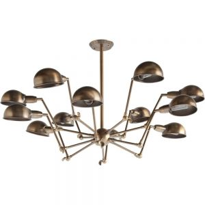 Space Age Sputnik 12 arm Chandelier Brass finished light fixture Danish Modern