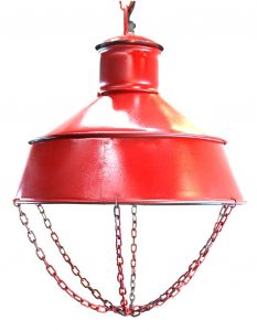 Red Factory Industrial Pendant CEILING LIGHT FIXTURE, Old Mill/Dock Style