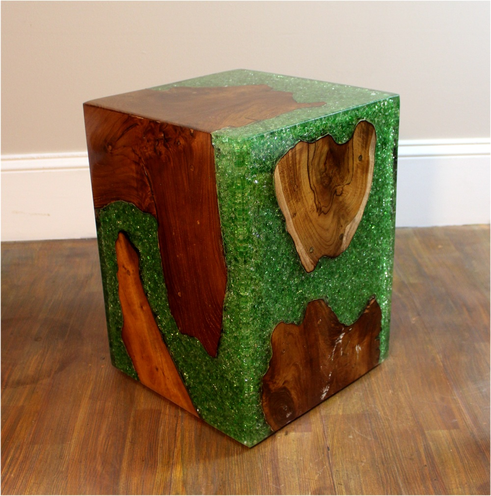 Green Resin Lucite And Teak Root Wood Cube End Side Night