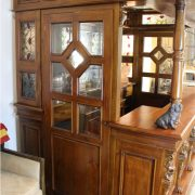 Lion Crest Tiffany Glass CANOPY TAVERN Bar Pub Furniture with Wine Racks Antique Replica
