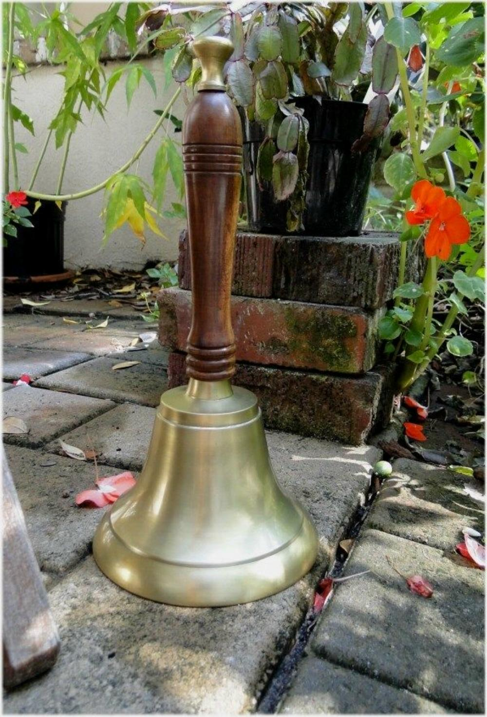 Satin Brass Ship's Bell, Ring in the Kids with Dinner Bell with Wood Handle