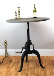 "Iron Crank Vintage Side TABLE OLD FASHIONED Factory Industrial Hand Made Natural 35.5"" Diameter Wood"