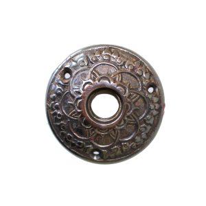 Brass DARKENED Rosette Round Door Plate with Floral Accent