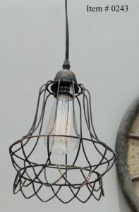 Antique Replica Steel Cage Wire Industrial Pendant Light Chandelier w LACE Skirt